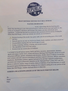 Draft Republic Hotter Than Hell Burger Waiver And Release